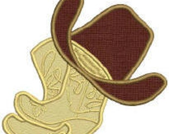 Western Cowboy Boots and Hat Applique Embroidery Design .dst, .pes, .hus,  .jef, .sew Auto download