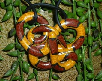 Valentine Gift Corn Snake Pendant Autumn Pumpkin Orange and Burgundy Necklace for Fall Halloween Costume Jewelry