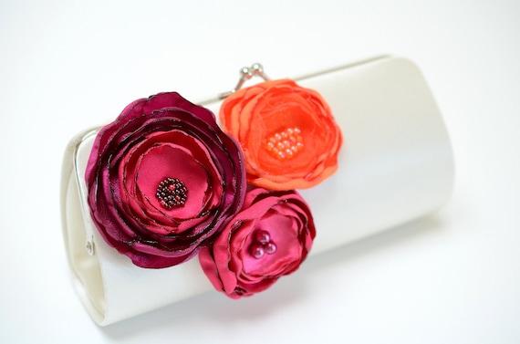 Bridesmaid Clutch - Bridal Clutch in Ivory Clutch with Raspberry Tangerine & Fuchsia Flowers - Pink Fuchsia Magenta Orange Bouquet Clutch