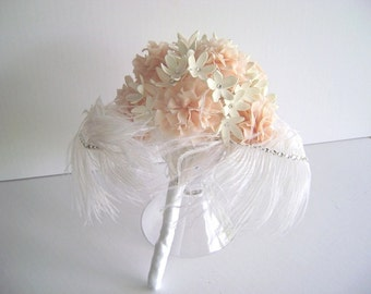 Wedding Bouquet Bridal Bouquet Alternative Wedding Bouquet Clay Carnation Stephanotis Feather bridal Bouquet