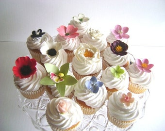 Cupcake Flowers Wedding Favors Cupcake Topper Clay Flowers