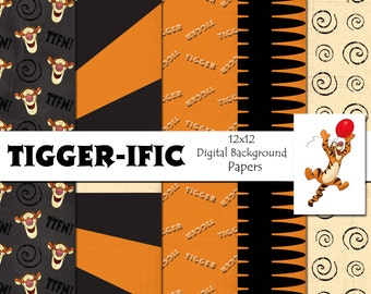 Disney Tigger Inspired 12x12 Digital Paper Backgrounds for Digital Scrapbooking -INSTANT DOWNLOAD -