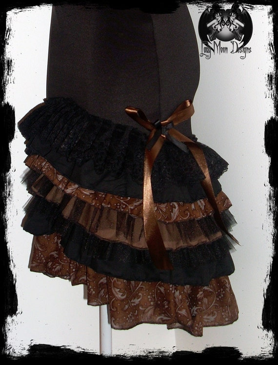 SALE Black and Brown Steampunk Layered Ruffle Skirt Size Small