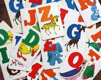 Vintage Alphabet Flash Cards - Full Alphabet - Set of 26 Letters - A to Z - Cute Illustrations