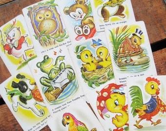 Vintage Cute Animal Phrase Cards - Set of 11 - Very Sweet Illustrations