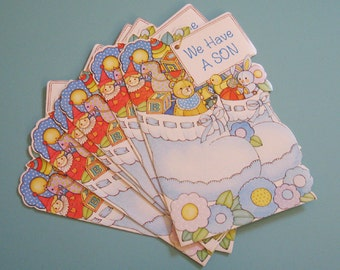 Vintage Baby Boy Birth Announcements - Set of 20 Announcements - Baby Boy