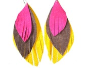 Leather Feather Earrings in canary yellow, hot pink and chocolate - recycled