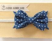 Baby bow headband - with polkadot denim  fabric and natural elastic
