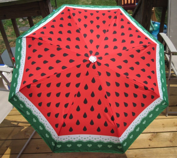 LAST ONE Watermelon and Lace Umbrella