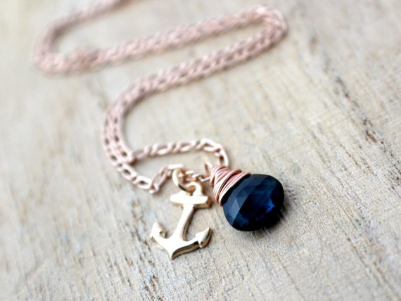 Reserved For Therese: London Blue Topaz Necklace In Rose Gold, Wire Wrapped Necklace, Anchor Charm, Nautical Fashion - Ahoy