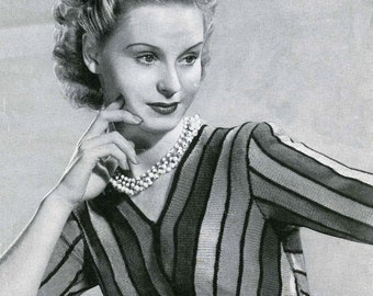 Vintage Ladies Jumper, Knitting Pattern, 1940/1950 (PDF) Pattern, Bestway 952