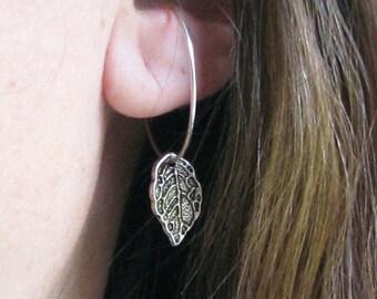 Silver leaf hoop earrings sterling silver wire non-pierced slip on hoops clip on earring alternative