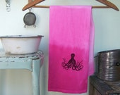 SALE - Flour Sack - Dip Dyed Towel - Octopus - Kitchen Hand Towel - Beach House - HOT PINK ombre 30% off