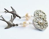 Sale - Button Earrings - Sparrow Earrings - Peach Pearl Earrings