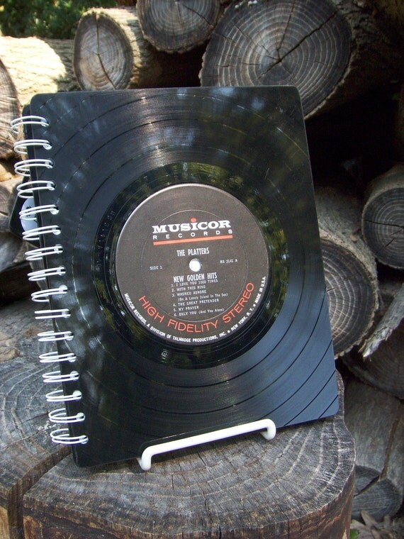 The Platters and Louis Armstrong  -  upcycled vinyl record notebook
