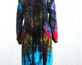 Tie Dye Rayon Robe in Black Rainbow Swirl
