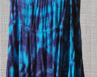 Peasant Top with Tier Sleeves Tie Dye in Turquoise and Purple