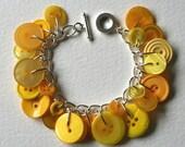 Button Bracelet Lemon Yellow Sunshine