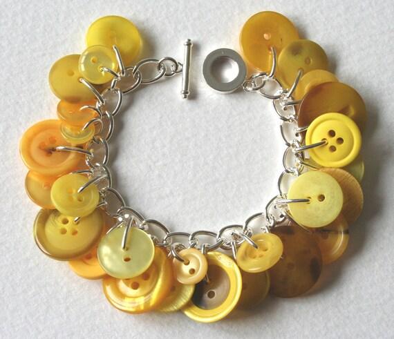Honey Bee Yellow Button Bracelet