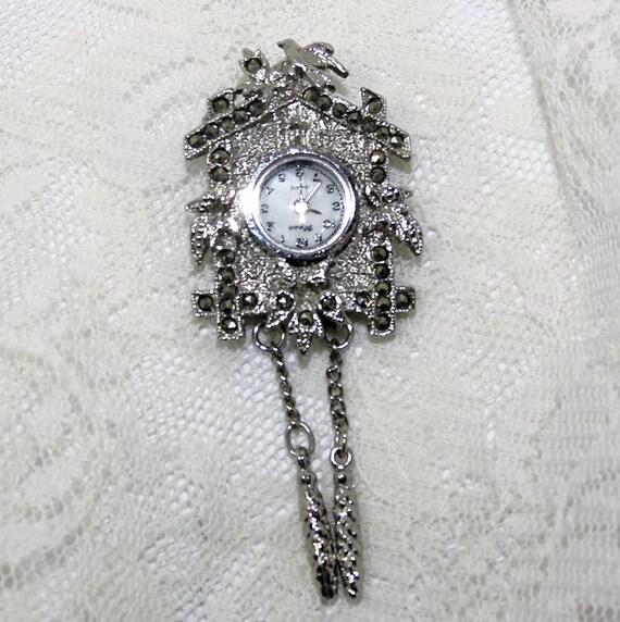 Vintage Avon Cuckoo Clock Pendant Or Brooch Marcasite Cuckoo