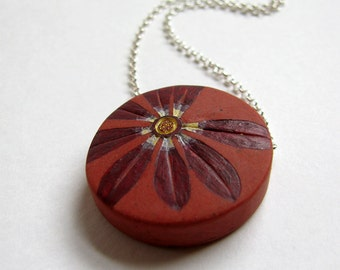 Oxblood Daisy Necklace, Rustic Flower Pendant, Sterling Silver Chain, Warm Earthy Jewelry, Gift for a Gardener