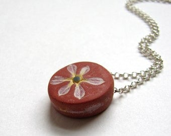 Petite Daisy Necklace, Rustic Flower Pendant, Simple Jewelry, Sterling Silver Chain, Terracotta Brown