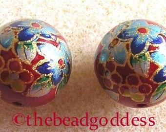 New Pair Japanese TENSHA Beads CLEMATIS BOUQUET on Ruby 12mm