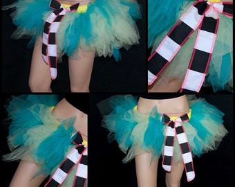 BONANZA Mint and Teal Green Trashy Faerie TuTu with striped bow adult small MTCoffinz -- ready to ship