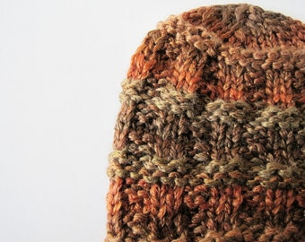 Hand Knit Hat - the Ada Hat in Autumn Leaves - Silky Soft Autumn Rust - Rust Red, Topaz, Golden Brown - Fall & Winter Accessories