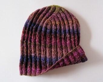 Knitted Hat - Men's Hand Knit Beanie Hat in Winter Sunrise - Luxe Fiber Lightweight Knit Hat in Multicolor Stripes - Purple, Rust, Gold