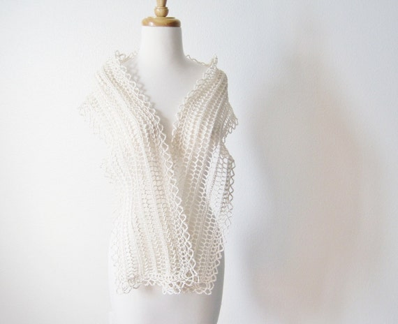Bridal Accessories - Wrap - Snow Bride's Shawlette - Cream Lace Cotton Knit Scarf / Bridal Stole / Wrap