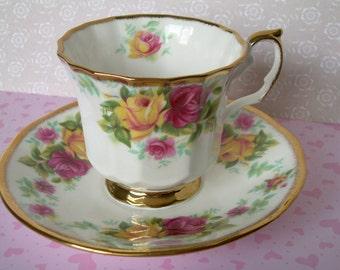 Vintage Bone China Cup Saucer England Roses Pink Teacup