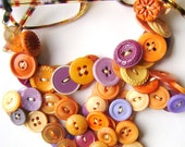 Eyeglass Chain in Vintage Buttons - Tangerine Purple