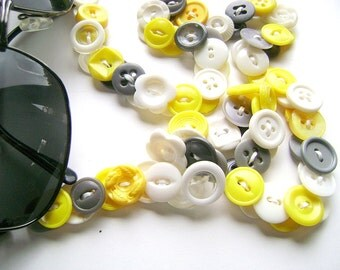 Eyeglass Chain in Vintage Buttons - Yellow Grey White