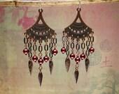 copper Chandelier earrings Gift for her Burgundy bohemian earrings Bohemian Jewelry