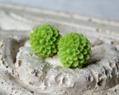 Wasabi Green Flower Earrings, Mini Mums, Chrysanthemums, Lime Green Earrings, Chartreuse