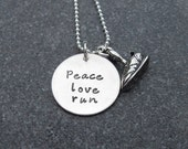 Running Necklace Peace Love Run Marathon Necklace 26.2 13.1 Running Shoe charm  Hand Stamped Jewelry