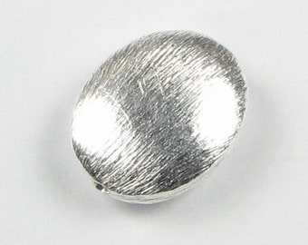 Large 15mm Brushed Sterling Silver Flat Oval Focal Bead (1 piece)