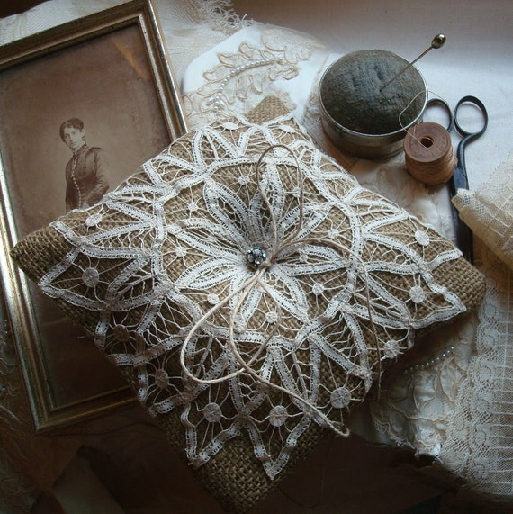 Wedding Ring Pillow in Natural Burlap with Antique Lace--Ready to Ship