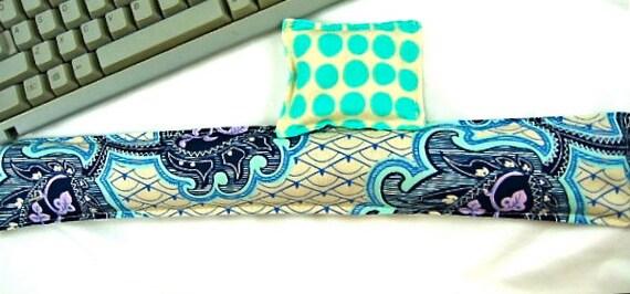 Keyboard Wrist Support Set Organic Lavender Blue Purple Fabric Carpel Tunnel Syndrome Office Supplies Geekery Desk Set
