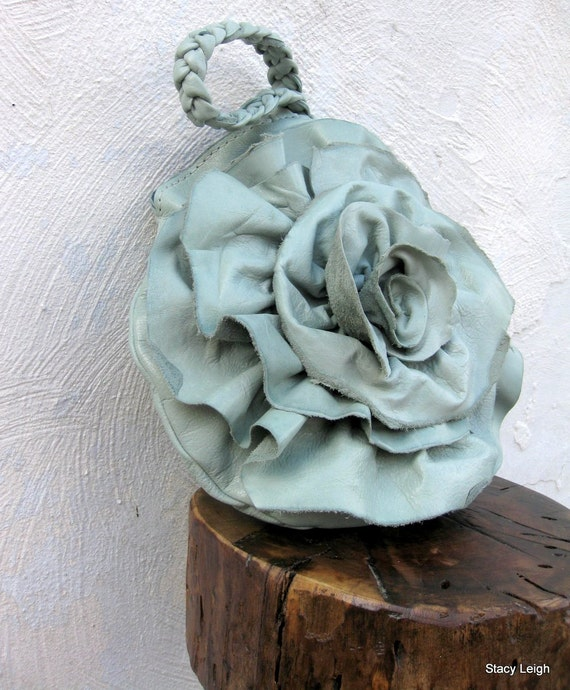 Cool Sage Mint Leather Rose Wristlet in Distressed Cowhide Leather Hand Made by Stacy Leigh Ready to Ship