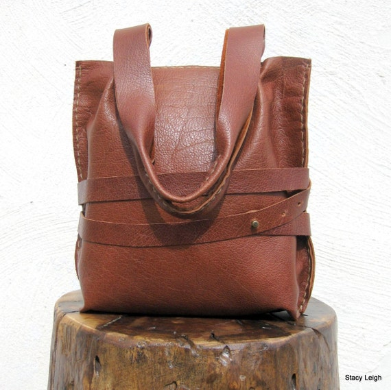 English Saddle Brown Rustic Leather Mini Tote Bag with Wrapped Strap by Stacy Leigh Ready to Ship