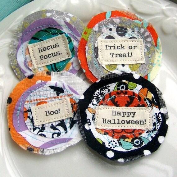 Halloween Flowers, Fabric Flowers, Halloween Fabric Flowers, Halloween Embellishments, Halloween Appliques - set of 4 - No. 743