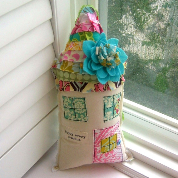 House Pillow, Home Pillow, Flower Pillow, House Shaped Pillow, Appliqued, Enjoy every moment,  Cottage Pillow - No. 105