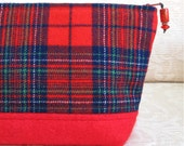 SUMMER SALE - Red Plaid Wool Zip Pouch, Eco Friendly Upcycled Wool Clutch, Tartan