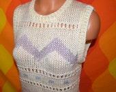 vintage 70's sleeveless sweater tank top CHEVRON chunky knit stripe fun shirt Medium licorice