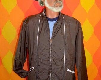 70s vintage windbreaker jacket nylon stripe preppy piping brown hood tennis Large 80s