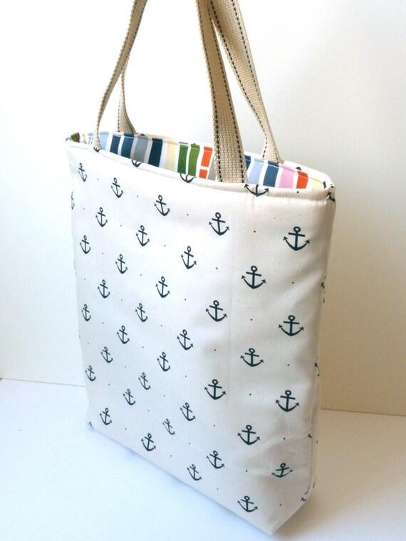 Cream and Navy Nautical Anchor Print Tote Bag, Book Bag, Handbag, Shopping Bag