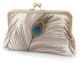 Peacock clutch bag, customized wedding purse, custom bridesmaid gift, embroidered silk, PEACOCK FEATHERS