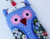 iPhone cell phone CaseTiny Flowers on Cornflower Blue Owl Shaped iPod Touch
